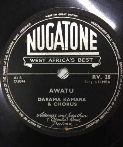 Label Nugatone RV 28 Awatu, Darama Kamara and Chorus